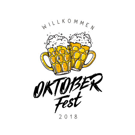 Oktoberfest. Beer Festival banner. Vector illustration on a white background.