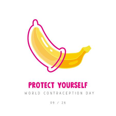 Plátano con condón. Día mundial de la anticoncepción. Protégete a ti mismo. Concepto de concienciación segura y sobre el SIDA. Ilustración de vector sobre fondo blanco. Ilustración de vector