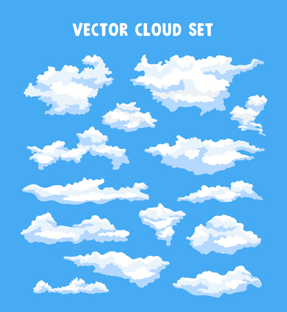 Vector set of clouds on a blue background. Elements for design.