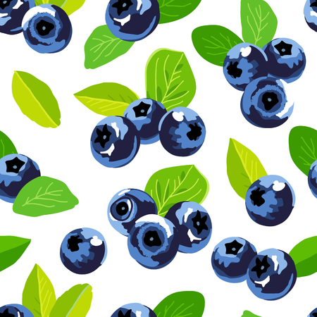 Seamless vector pattern of blueberries on a white background. Sweet tasty forest berry. Elements for design.
