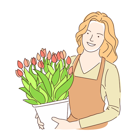 Florist girl with a pot of beautiful flowers tulips. Vector illustration on white background.