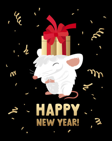 White rat with a golden gift box on his head. The symbol of the Chinese 2020. Holiday card. Vector illustration on black background. Inscription Happy New Year. Lettering.