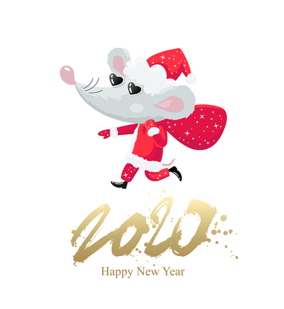 Cool little mouse in a Santa Claus costume and black sunglasses and a bag of gifts. The symbol of the Chinese 2020. Happy New Year. Lettering. Holiday card. Vector illustration on white background.