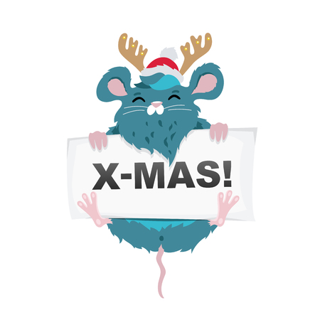 Rat Santa Claus in a red hat with deer horns and a sheet of paper. The symbol of the new Chinese 2020. Merry Christmas. Holiday card. Vector illustration on white background.