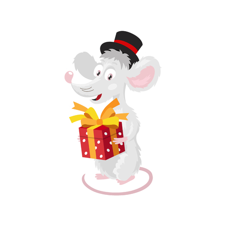 Cheerful little mouse in a black top hat with a red gift box. The symbol of the new Chinese 2020. Holiday card. Vector illustration on white background. Ilustração