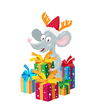 Cheerful little mouse in a red hat with deer horns surrounded by gift boxes. The symbol of the new Chinese 2020 year. Holiday card. Vector illustration on white background.