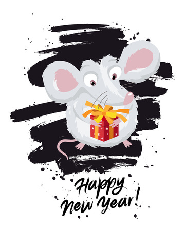 Cute little mouse with a red gift box. The symbol of the Chinese 2020. Happy New Year. Lettering. A stroke of black ink. Holiday card. Vector illustration on white background. Ilustração