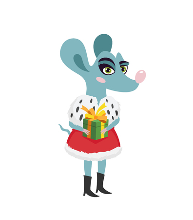Cute rat is a girl with a red royal red robe and a gift box in her hands. The symbol of the new Chinese 2020. Holiday card. Vector illustration on white background. Ilustração