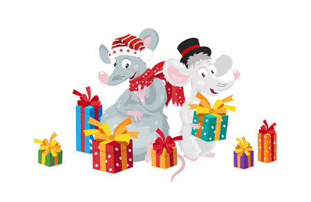 Two funny rats surrounded by gift boxes. The symbol of the new Chinese 2020 year. Holiday card. Vector illustration on white background.