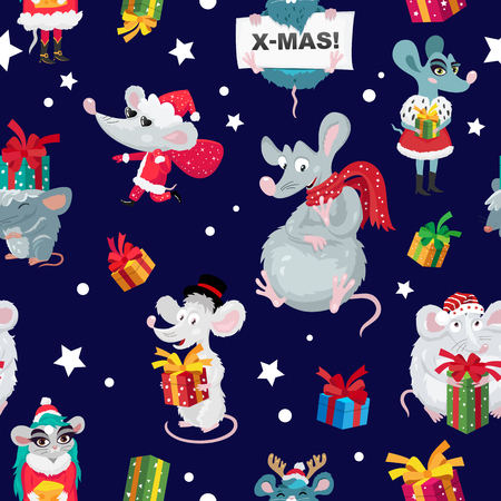 Seamless pattern of rats, mice and gift boxes. Happy new year and Merry christmas. Symbol of the Chinese year 2020. Holiday card. Vector illustration on blue background. Wrapping paper. Ilustração