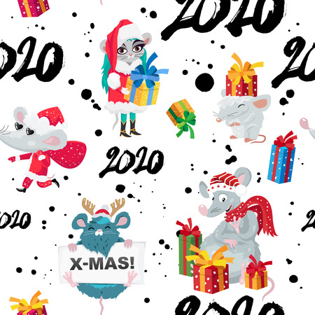 Seamless pattern of rats, mice, gift boxes and numbers 2020. Happy new year and christmas. Symbol of the Chinese year 2020. Holiday card. Vector illustration on white background. Wrapping paper.