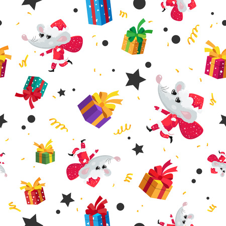 Seamless pattern of rats, mice and gift boxes. Happy new year and christmas. Symbol of the Chinese year 2020. Holiday card. Vector illustration on white background. Wrapping paper.