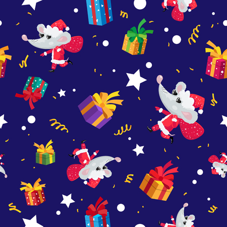 Seamless pattern of rats, mice, and gift boxes. Happy new year and christmas. Symbol of the Chinese year 2020. Holiday card. Vector illustration on blue background. Wrapping paper.