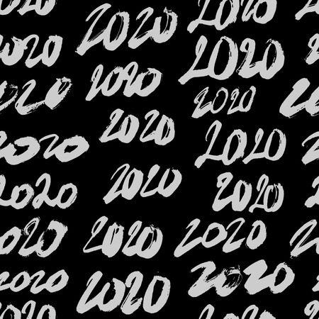 Seamless pattern from numbers 2020. Happy new year and christmas. Lettering and calligraphy. Vector illustration on black background. Wrapping paper.