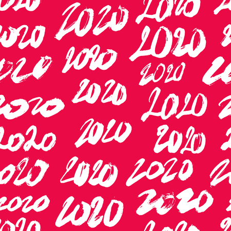 Seamless pattern from numbers 2020. Happy new year and christmas. Lettering and calligraphy. Vector illustration on red background. Wrapping paper.  イラスト・ベクター素材