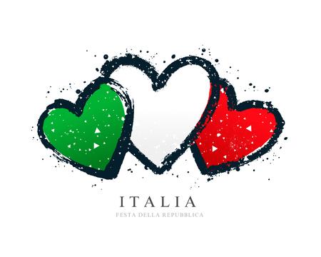 Bandera italiana en forma de tres corazones. Ilustración vectorial sobre fondo blanco. Pinceladas dibujadas a mano. Día de la Independencia. Ilustración de vector