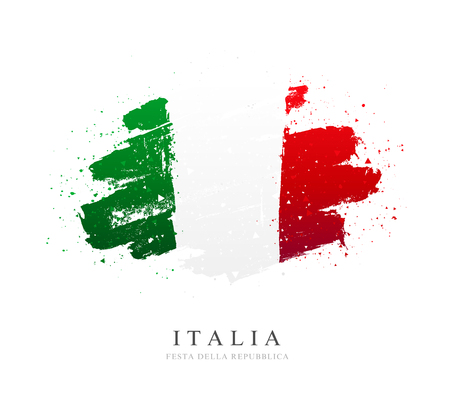 Flag of Italy. Vector illustration on white background. Brush strokes drawn by hand. Independence Day.