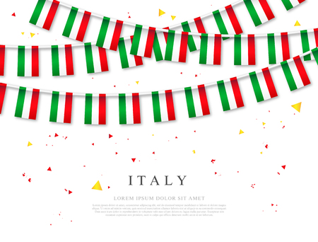 Garland of Italian flags. June 2 - Independence Day of Italy. Vector illustration on white background. Elements for design.