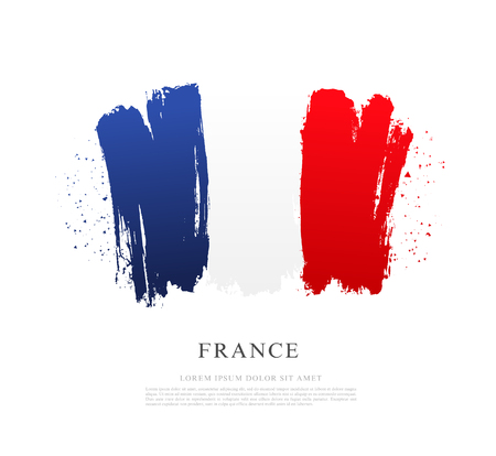 Flag of France. Vector illustration on white background. Brush strokes drawn by hand. Independence Day. Bastille Day.