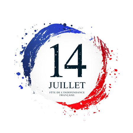 French flag in the shape of a circle. July 14 - French Independence Day. Vector illustration on white background. Brush strokes drawn by hand. Flag of France.