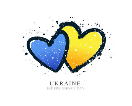 Ukrainian flag in the form of two hearts. Vector illustration on white background. Brush strokes drawn by hand. Independence Day of Ukraine.