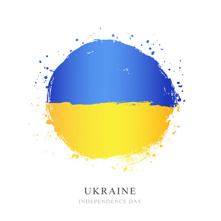 Ukrainian flag in the form of a large circle. Vector illustration on white background. Brush strokes drawn by hand. Independence Day of Ukraine.