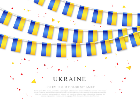 Garland of Ukrainian flags. Ukraine's Independence Day. Vector illustration on white background. Elements for design. Vectores