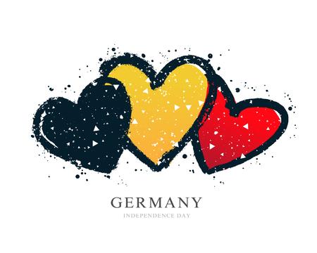 Deutsche Flagge in Form von drei Herzen. Vektorillustration auf weißem Hintergrund. Pinselstriche von Hand gezeichnet. Tag der Unabhängigkeit. Tag der nationalen Einheit Deutschlands.