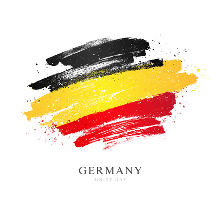 German flag. Vector illustration on white background. Brush strokes drawn by hand. Independence Day. National Unity Day of Germany.