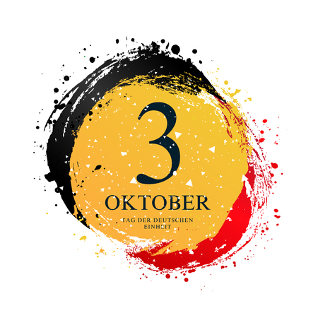 German flag in the shape of a circle. October 3 - Independence Day of Germany. Vector illustration on white background. Brush strokes drawn by hand. National Unity Day.