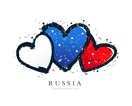 Russian flag in the form of three hearts. Vector illustration on white background. Brush strokes drawn by hand. Independence Day of Russia.