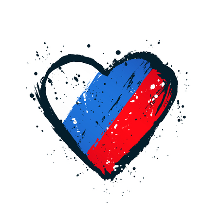 Russian flag in the form of a big heart. Vector illustration on white background. Brush strokes drawn by hand. Independence Day of Russia.