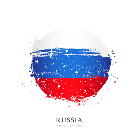 Russian flag in the form of a large circle. Vector illustration on white background. Brush strokes drawn by hand. Independence Day of Russia.  イラスト・ベクター素材