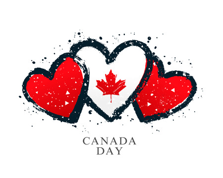 Canadian flag in the form of three hearts. Vector illustration on white background. Brush strokes drawn by hand. Canada Independence Day.