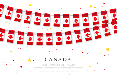 Garland of Canadian flags. Canada Day. Vector illustration on white background. Elements for design.