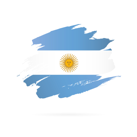 Argentinian flag. Vector illustration on white background. Brush strokes drawn by hand. Ilustrace