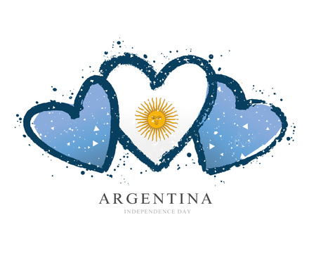 Argentinean flag in the form of three hearts. Vector illustration on white background. Brush strokes drawn by hand. Argentine Independence Day. Vettoriali