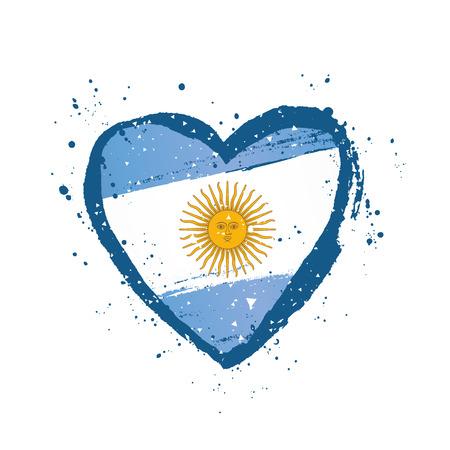 Argentinische Flagge in Form eines großen Herzens. Vektorillustration auf weißem Hintergrund. Pinselstriche von Hand gezeichnet. Tag der Unabhängigkeit. Vektorgrafik
