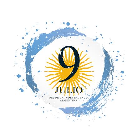 Argentinische Flagge in Form eines Kreises. 9. Juli - Unabhängigkeitstag Argentiniens. Vektorillustration auf weißem Hintergrund. Pinselstriche von Hand gezeichnet.
