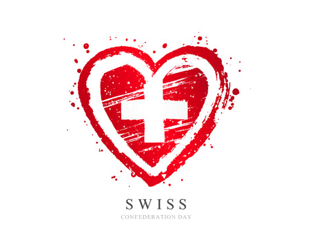 Swiss flag in the form of a big heart. Vector illustration on white background. Brush strokes drawn by hand. Swiss Independence Day. Confederation Day.