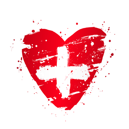 Swiss flag in the form of a big heart. Vector illustration on white background. Brush strokes drawn by hand. Independence Day. Confederation Day. Ilustração