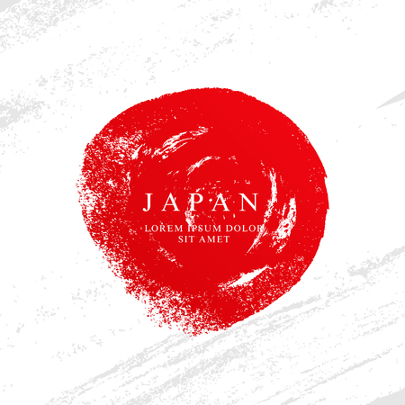 Flag of Japan. Vector illustration on a gray background. Brush strokes drawn by hand. Independence Day.  イラスト・ベクター素材
