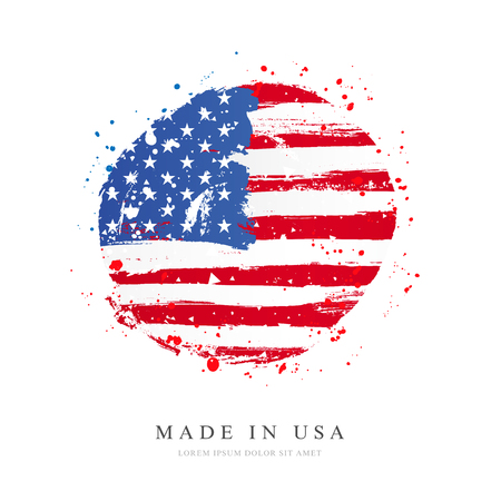 American flag in the shape of a large circle. Vector illustration on white background. Brush strokes drawn by hand. USA Independence Day.  イラスト・ベクター素材