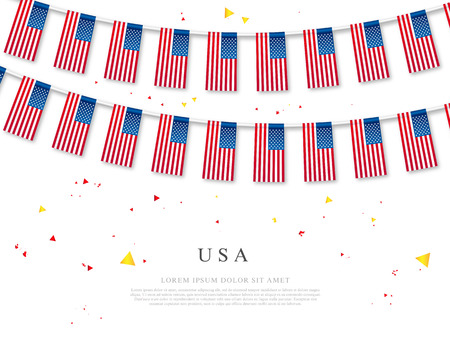 Garland of American flags. USA Independence Day. Vector illustration on white background. Elements for design.