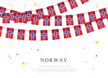 Garland of Norwegian flags. Independence Day of Norway. Vector illustration on white background. Elements for design.