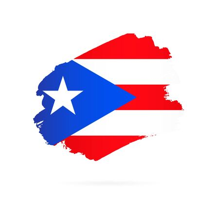 Flag of Puerto Rico. Vector illustration on white background. Brush strokes drawn by hand.