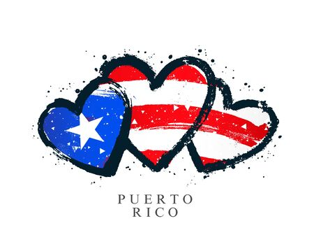 Flag of Puerto Rico in the form of three hearts. Vector illustration on white background. Brush strokes drawn by hand. Independence Day.