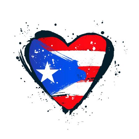 Puerto Rico flag in the form of a big heart. Vector illustration on white background. Brush strokes drawn by hand. Independence Day.