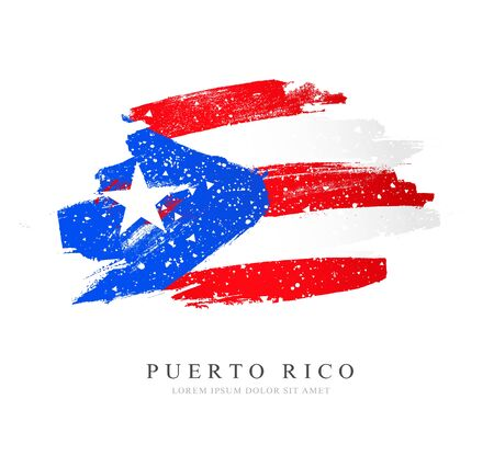 Flag of Puerto Rico. Vector illustration on white background. Brush strokes drawn by hand. Independence Day.
