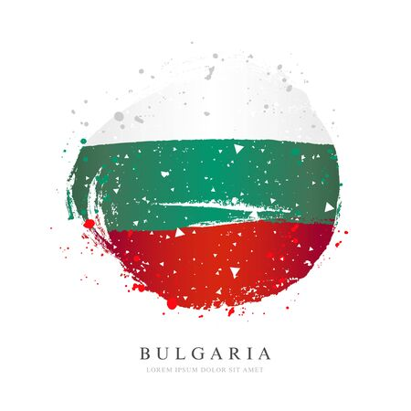 Bulgarian flag in the form of a large circle. Vector illustration on white background. Brush strokes drawn by hand. Independence Day.